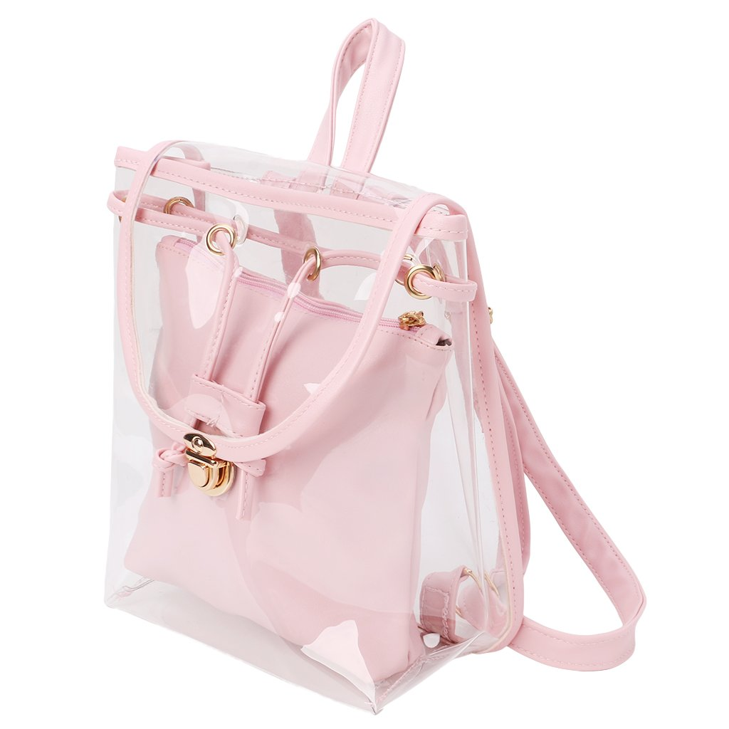 Amazon.com: Lamdoo Womens 2 in 1 Clear Drawstring Backpack Transparent Travel Beach Rucksack Bag Pink: Home & Kitchen