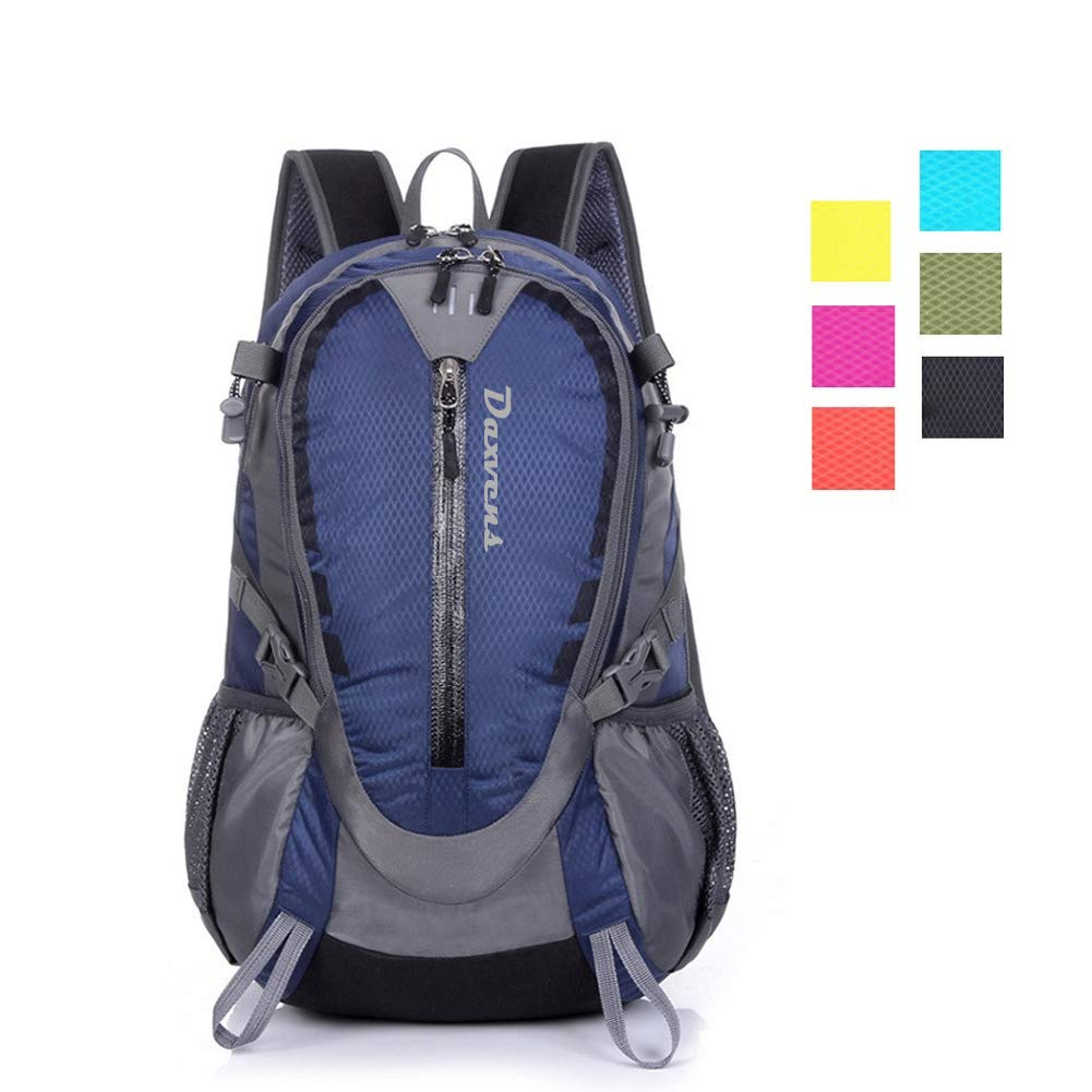 Daxvens Day Hiking Backpack with Chest Wasit Strap for Men Women Youth, 25L Small Lightweight Water-Resistant Daypack Carry-On Camping Climbing Trekking Cycling Commuter