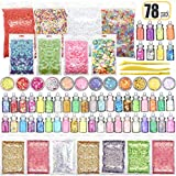 78PCS Slime Supplies Kit Include Sugar Paper Accessories Floam Beads Fishbowl Beads Glitter Jars Heart Slices Shell Slime Kits for Kids to Make Slime Toys