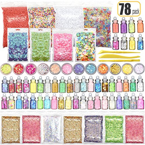 78PCS Slime Supplies Kit Include Sugar Paper Accessories Floam Beads Fishbowl Beads Glitter Jars Heart Slices Shell Slime Kits for Kids to Make Slime Toys by Hulluter