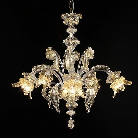 Chepe lámpara de cristal de Murano 5 luces cristal oro ...