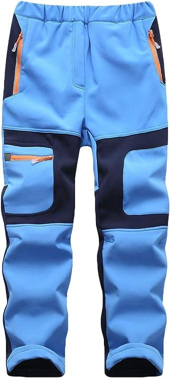 CAMLAKEE Pantalon Trekking Niño Invierno - Pantalones de Montaña Niña Impermeables con Forro Polar - Pantalones de Senderismo Softshell