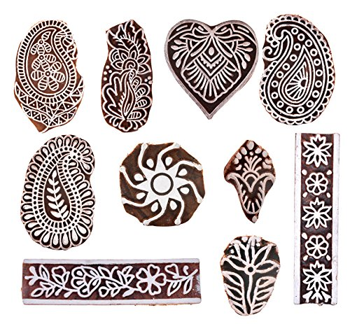 Hashcart Baren for Block Printing Stamps/Wooden Stamping Block/Handcarved Designer Craft Printing Pattern for Saree Border,Henna/Textile Printing,Scrapbooking,Pottery Crafts & Wall Painting,Set of ()