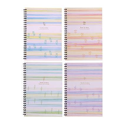 Jia Hu 4pcs A5 fresco rayas cuaderno de espiral doble papel ...
