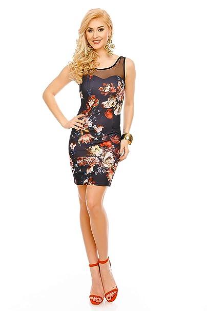 Mayaadi Damen Kleid Sommer Blumenmuster Mini Ärmellos