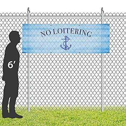 CGSignLab Nautical Wave Wind-Resistant Outdoor Mesh Vinyl Banner No Loitering 9x6