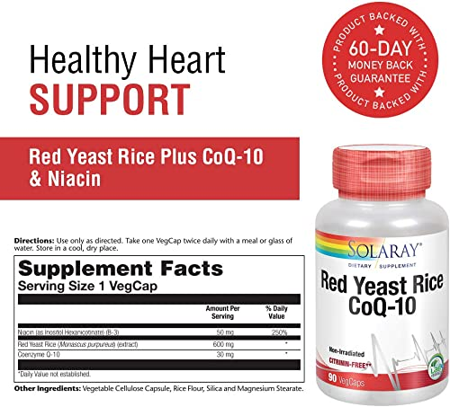 Solaray Red Yeast Rice Plus CoQ-10 with Niacin for Added Cardiovascular Health Support Non-Irradiated and with Out Citrinin 90 Vegetarian Capsules