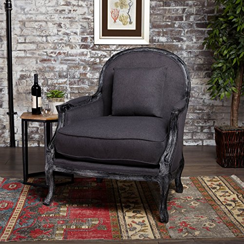 Christopher Knight Home 302280 Nicolas Occasional Weathered Fabric Chair with Black Finished Legs (Dark Charcoal),