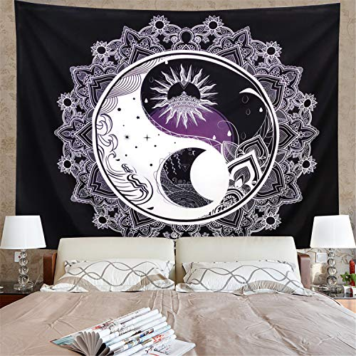 (Amonercvita Sun and Moon Tapestry Black and White Tapestry Mandala Yin Yang Tapestry Tai Chi Wall Hanging Tapestry Psychedelic Wall Art Tapestry for Home (W59.1 ×)