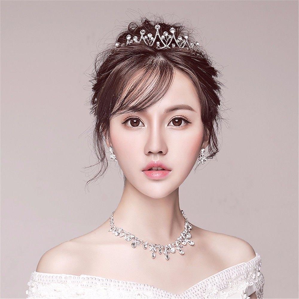 Bride headwear Korean jewelry hair accessories wedding wedding dress accessories necklace earrings crown threepiece