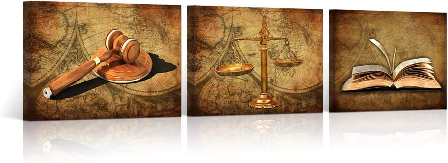 "HOMEOART Scales of Justice Legal Pictures Lawyer Office Decor Painting Canvas Prints Gallery Wrapped Ready to Hang 12""x16""x3"