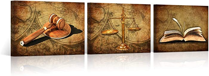 """HOMEOART Scales of Justice Legal Pictures Lawyer Office Decor Painting Canvas Prints Gallery Wrapped Ready to Hang 12""""x16""""x3"""
