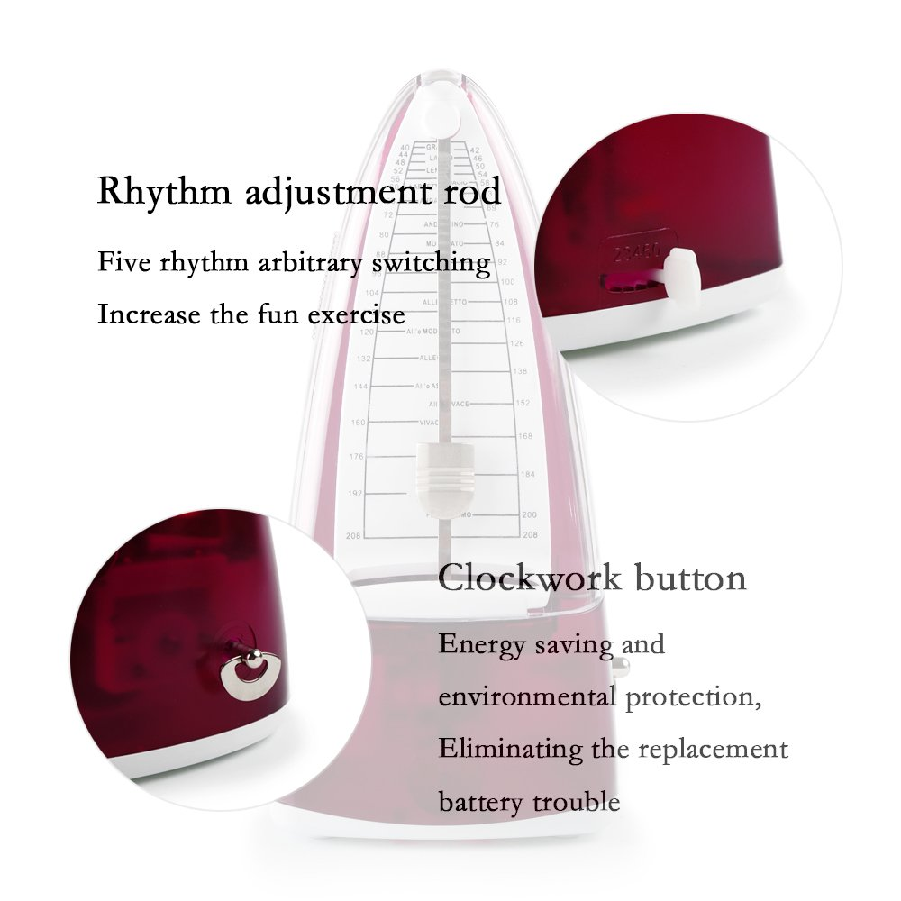 Mechanical Metronome with Bell for Piano / Guitar /Bass/ Drum/ Violin and Other Musical Instruments, High Accuracy,Tempo Range from 40 to 208bpm (Purple)