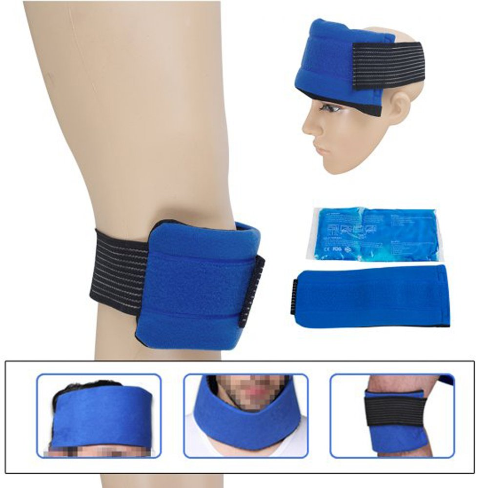 Zinnor Reusable Gel Ice Pack with Wrap Hot and Cold Ice Pack CLoth Cover for Headgear Hip Shoulder Wrist Elbow Knee Pain Relief Sport Care