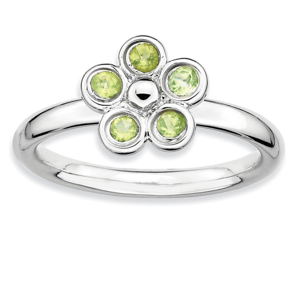 Top 10 Jewelry Gift Sterling Silver Stackable Expressions Peridot Flower Ring
