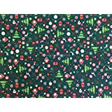 PRESTIGE Cute Christmas Print Cotton Fabric XMAS Trees, Snow, Gifts Festive decorations quilting, bunting, table runners 135cm wide - Per METRE (Green) by Prestige Fashion UK Ltd