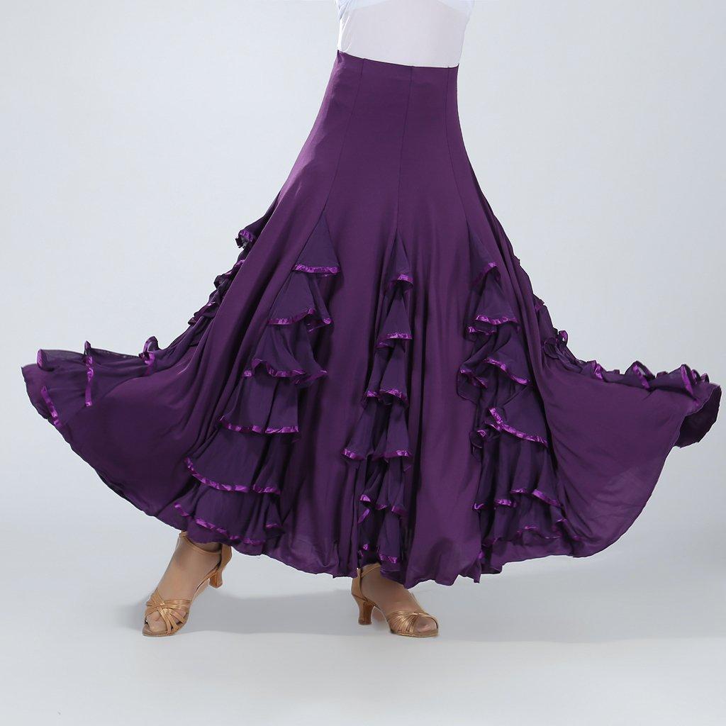 Baoblaze Flamenco Ballo Valzer Grande Swing Moderno Abito Gonna Lunga per Donna Ragazze