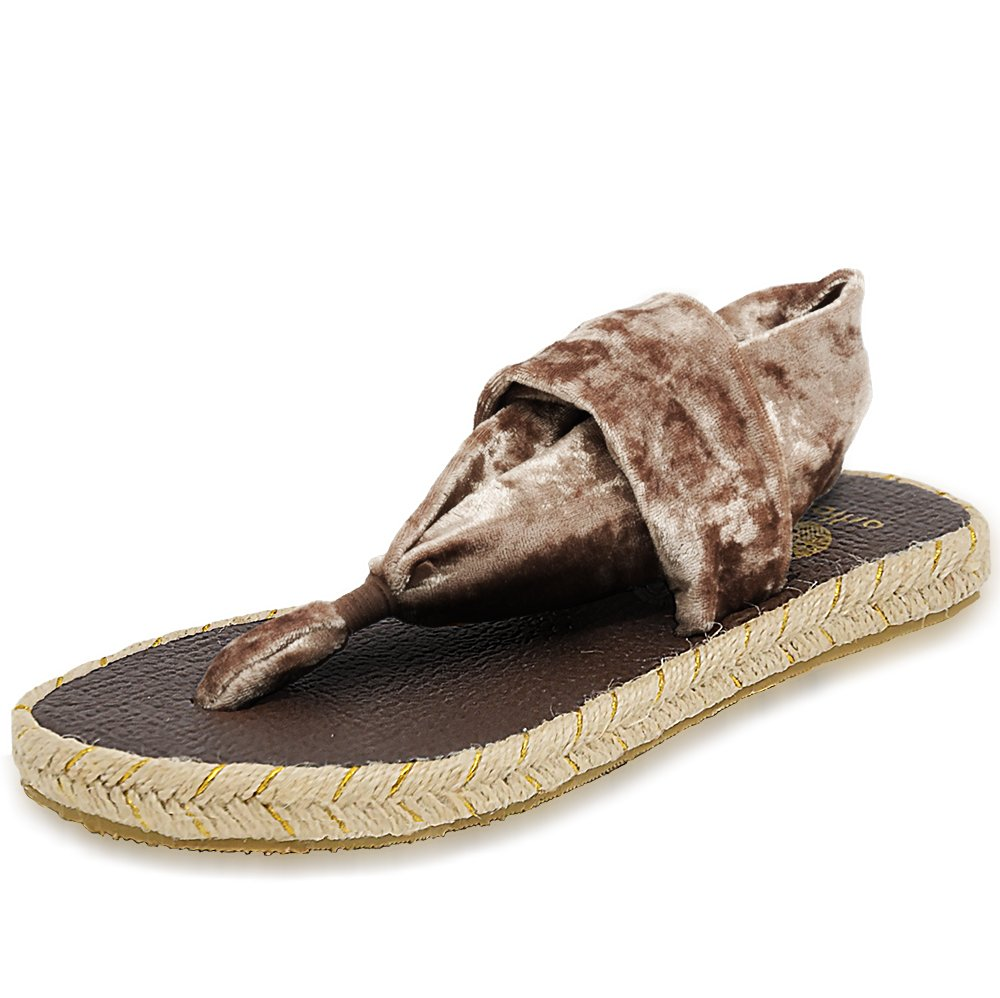 Nalho Women's Yoga Mat Memory Foam Espadrilles Sandals, Ganika Velvet Bronze 6