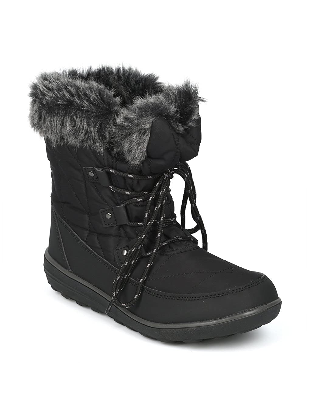 Alrisco Faux Fur Trim Lace Up Outdoor Winter Boot HG06