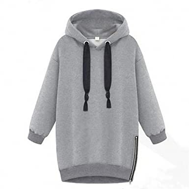 Spring Women Lady Cotton Loose Hooded Jacket Thicken Velvet Long sleeve Sweatshirt Korean Style Hoodies Gray