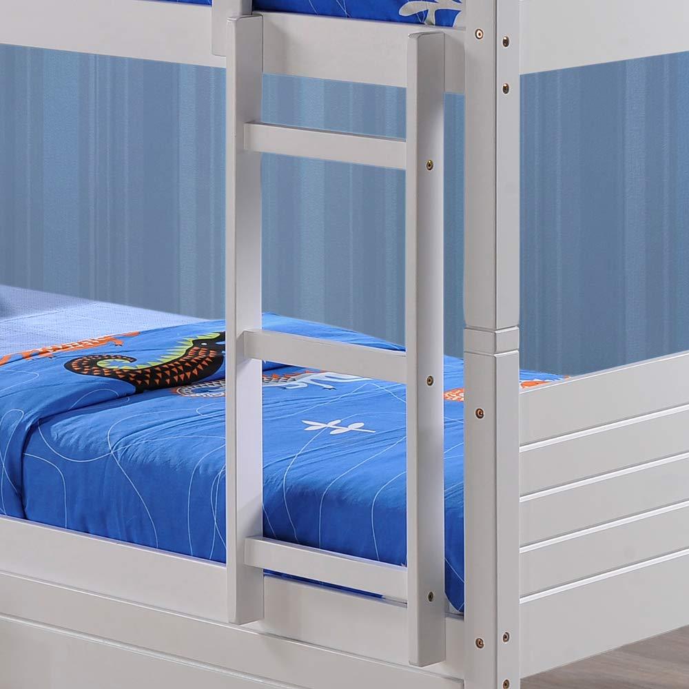 Happy Beds Feliz Camas litera de Bedford de Almacenamiento con 2 cajones 3 de Madera en Color Blanco 2 X colchones 3 Single 90 x 190 cm, Blanco, ...