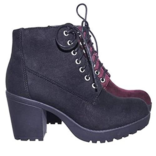 3daa75b930e Soda Women's Malia Faux Leather Lace Up Chunky Ankle Boot: Amazon.ca ...
