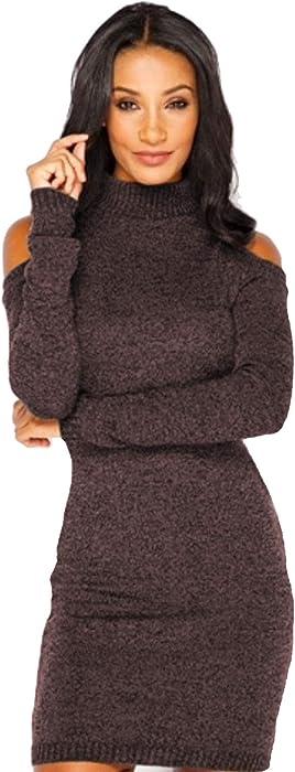 Vestito Maglia Donna Invernale Moda Sexy Abito Spalle Scoperte Corto  Maglione Vestiti Tubino Ragazza Abiti Aderenti Eleganti Vestitini Tinta  Unita da ... a3c8a2d7082