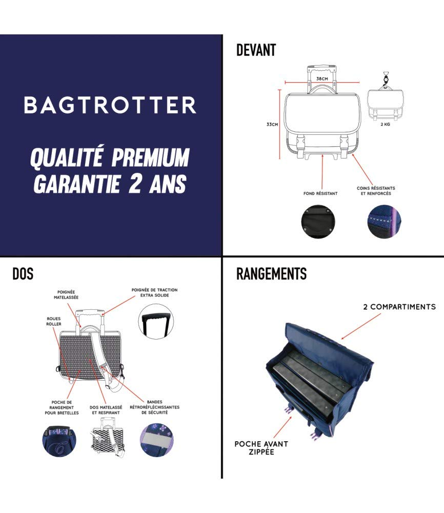 Bleu Marine Bagtrotter CYBNI18FIELD Cartable /à Roulettes Cybel 38 x 14 x 33 cm