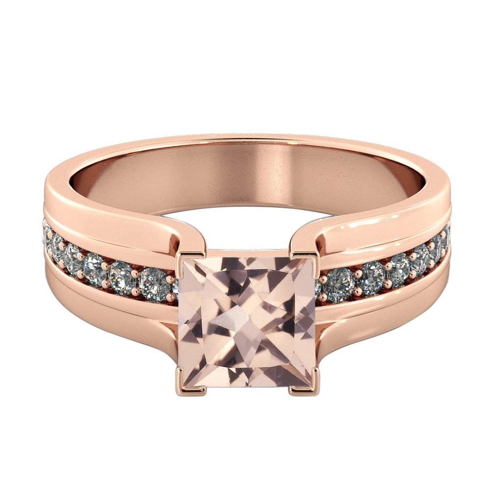 Natural peach/pink 1.20 CT VS Morganite Ring with Diamonds Rose Gold 14K Bridge Vintage Princess