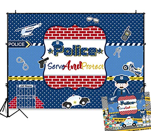 Art Studio 7x5ft Cartoon Police Serve and Protect Theme Photography Backdrops Police Car Sheriff Night Chase Boy Baby Shower Birthday Party Photo Background Children Cosplay Studio Booth Props Vinyl (Best Police Car Chase Videos)