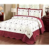 """Home Must Haves Set 3 Piece Bedspread Bed Cover Burgundy Embroidery Quilt Cream (Queen) 90"""" x 90"""""""