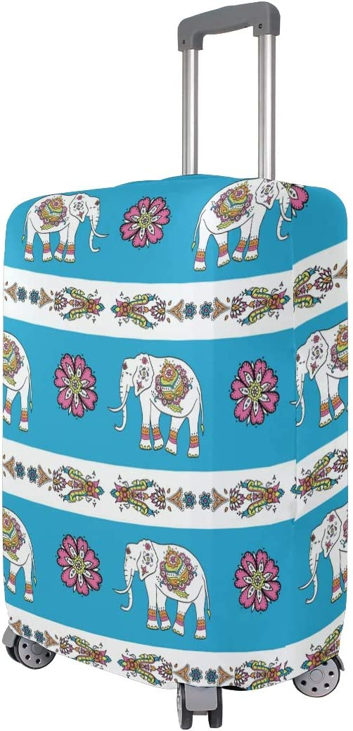 FOLPPLY Boho Tribal Elephant Floral Print Luggage Cover Baggage Suitcase Travel Protector Fit for 18-32 Inch