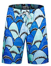 APTRO Men's Swim Shorts Colorful Beach Swim Trunks with No Mesh Lining