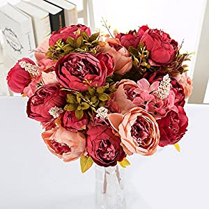 Alapaste Artificial Flowers,Fake Silk European Fall Peony Flowers Arrangements Wedding Bouquets Decorations Floral Table Centerpieces Decoration for Home Party Decor 1