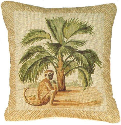 デラックス枕Palm and Monkey – 17 by 15 in. Needlepoint枕   B00ADW2HBA