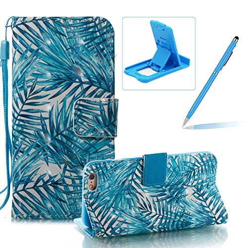 Strap Leather Case for iPhone 6S,Wallet Stand Flip Case for iPhone 6,Herzzer Bookstyle Stylish Pretty 3D Flower Flamingo Pattern Magnetic PU Leather with Soft Silicone Inner Back Case for iPhone 6/6S Color #4
