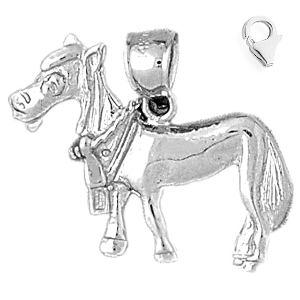 JewelsObsession Sterling Silver 21mm Donkey Charm w//Lobster Clasp