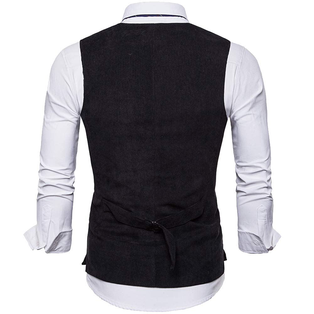 Cottory Mens Basic British Style Vest Slim Fit 6 Button Party Casual Dress Waistcoat
