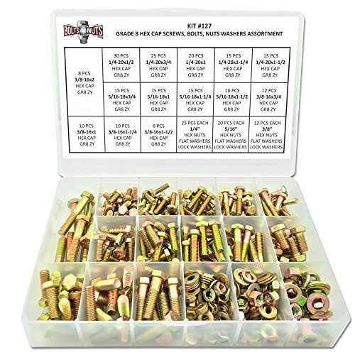 8 Piece Assortment - Grade 8 Hex Cap Bolts Screws, Nuts, Washers, Lock Washers Assortment Kit - 380 Pieces!