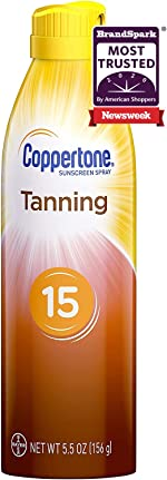 Coppertone Tanning Dry Oil Sunscreen Continuous Spray SPF 15 (5.5 Ounce)