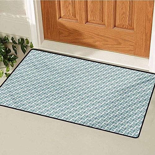 GUUVOR Geometric Front Door mat Carpet Cubes with Small Squares Dimensional Illusion Effect Artistic Machine Washable Door mat W29.5 x L39.4 Inch Reseda Green Slate Blue White (Terrier Welcome Slate)