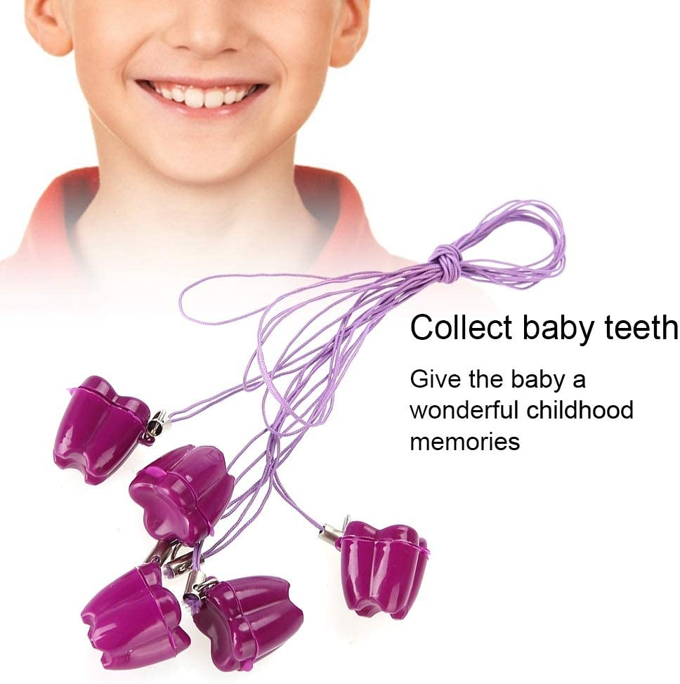 bo/îte de rangement en plastique pour dents de lait en plastique pour b/éb/é Boite a Dent Bebe avec colliers /économiseur de dent en corde 5 pi/èces Couleur : Bleu