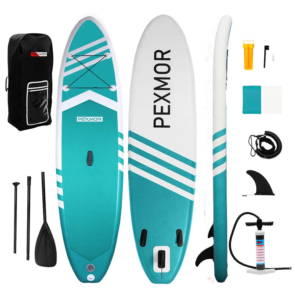 PEXMOR Inflatable Stand Up Paddle Board for Fishing Yoga Paddle Boarding with Premium SUP Accessories & Carry Bag, Surf Control, Non-Slip Deck | Youth & Adult Standing Boat 10'6'' X 30'' X 6'' (Aqua) by PEXMOR