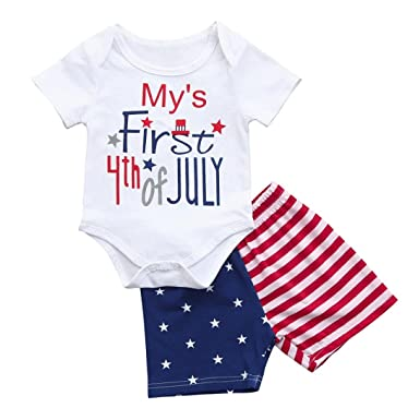 iumei Independence Day Baby Onesies+USA Flag Shorts Suits My s First 4th of  July Clothing 65a19ad3b