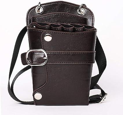 Funda de piel para tijeras de peluquería con cinturón para la cintura y el hombro: Amazon.es: Belleza