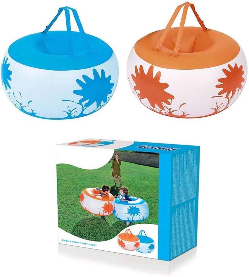 2 PCS inflables pegatina de bolas para los niños, bola de hámster Humano para adultos, adolescentes y niños, la burbuja inflable de PVC parachoques balón de fútbol, diámetro 91 cm, naranja y azul