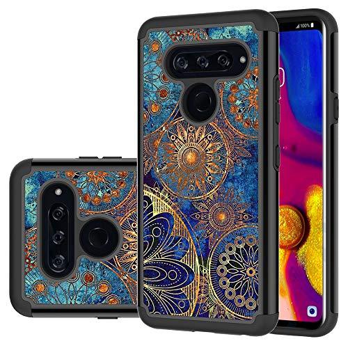 LG V40 ThinQ Case, LG V40 Case, LEEGU Shock Absorption Dual Layer Heavy Duty Protective Silicone Plastic Cover Rugged Phone Cases LG V40 2018 - Gear Wheel