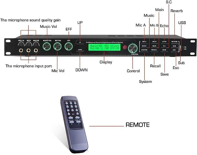 Depusheng V7800 Karaoke Professional Digital Audio Processor for Music Equipment