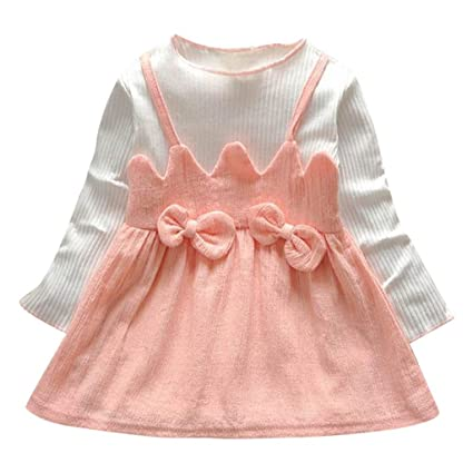 f606b565b4fce Amazon.com: Toddler Kid Baby Girl Long Sleeve Bow Patchwork Party ...