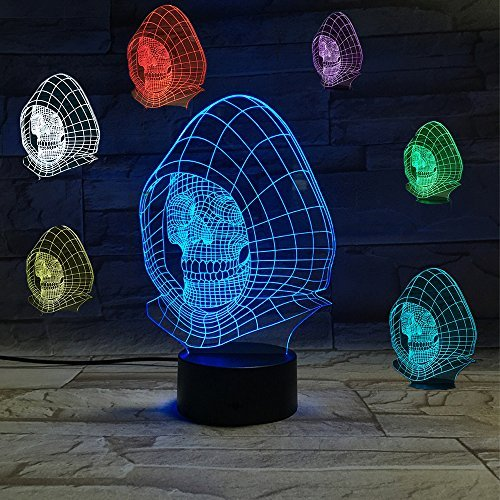 3D Illusion Led Lamp Optical Skull Night Light 7 Colors Change Touch Control Fancy Bedroom Deco Light by Haolin